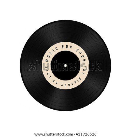 Old vinyl record on white background