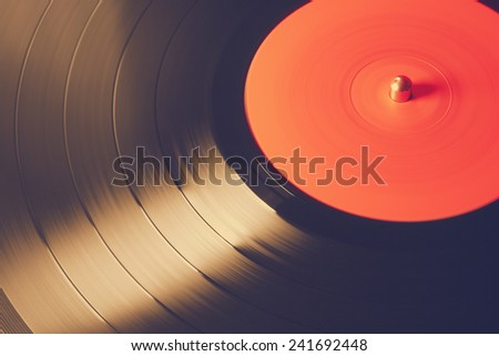 Old vinyl record, retro film filtered, instagram style  - stock photo