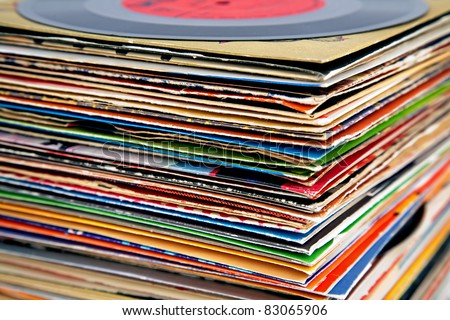 old vinyl records pile - stock photo
