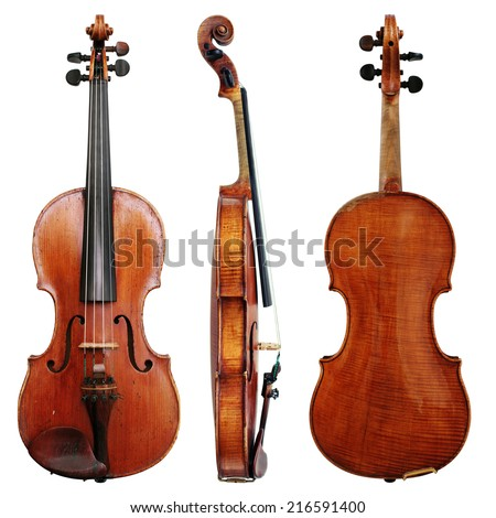 Old Violin isolated on a white background - stock photo