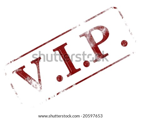 old vip stamp on a white background - stock photo