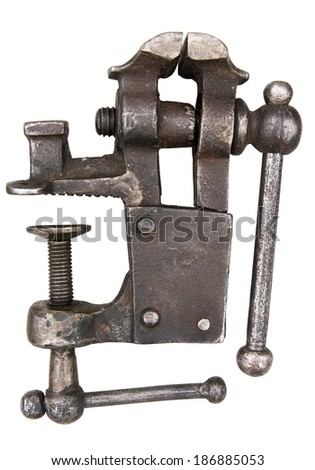 Old vise isolated. Clipping path included.