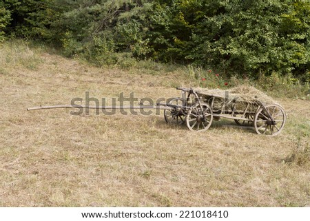Old wagon on the mountainside. - stock photo