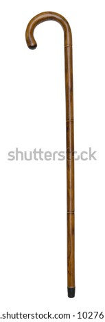 Old walking stick isolated on white with path - stock photo