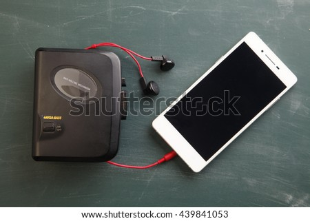 old walkman ,portable music has been replace by smart phone today