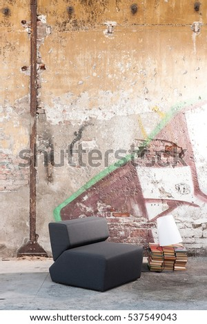 Old wall background and modern luxury seat design