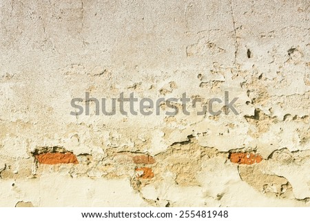 Old wall background texture. Urban decay, peeling plaster. Filtered style toned color. - stock photo