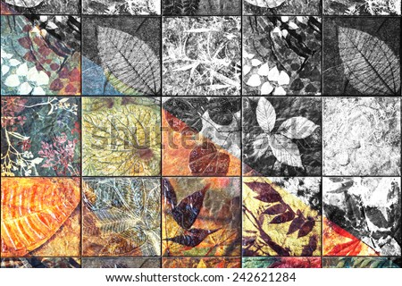 Old wall ceramic tiles patterns handcraft from thailand public mixing between color and black and white. - stock photo