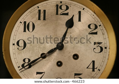 Old Wall Clock Face - stock photo