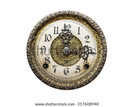 Old wall clock isolated on a white background. - stock photo