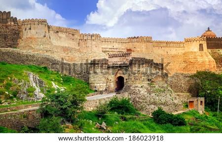 Old wall in Kumbhalgarh, India - stock photo
