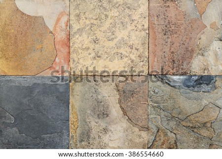 Old wall stone Cladding  tiles patterns handcraft from thailand public. - stock photo