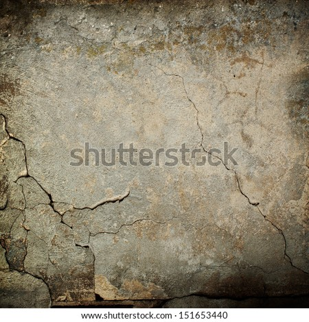 old wall texture grunge background and black vignette - stock photo