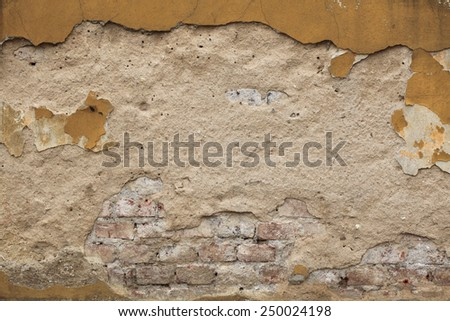 Old wall with cracked plaster. Background texture. - stock photo