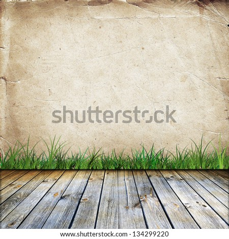 Old wall with grass and wooden floor. Empty space for Your ideas. - stock photo