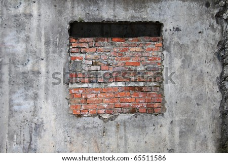 old wall with window - stock photo