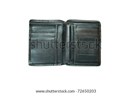 Old wallet on a white background.
