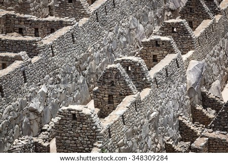 old walls and houses to Machu Picchu - stock photo