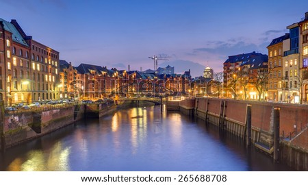 Old warehouses in the historic Speicherstadt in Hamburg, Germany - stock photo