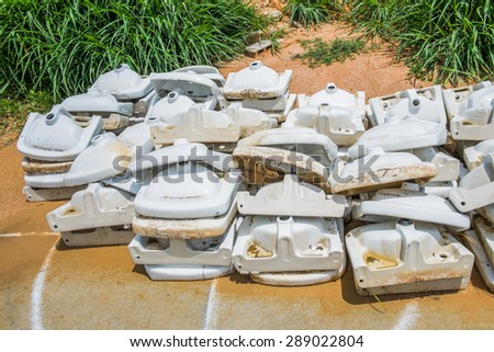 old wash basins not used outdoor - stock photo