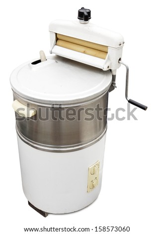 Old washing machine isolated on white. Clipping path included. - stock photo