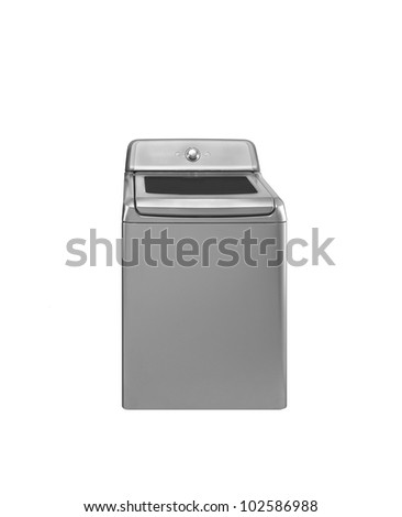 Old washing machine. On a white background. - stock photo