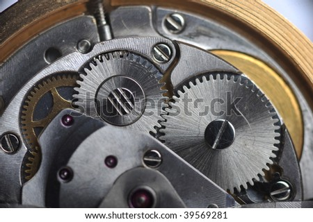 old watch gears very close up