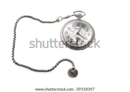 old watch isolated on white