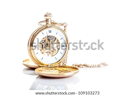 Old watch isolated on white background