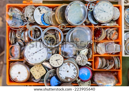 old watches market stock parts - stock photo