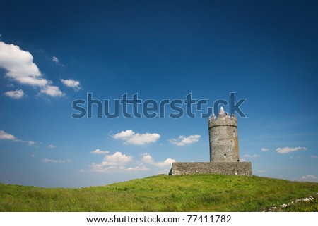 Old Watchtower on the hill, Galway, Ireland - stock photo
