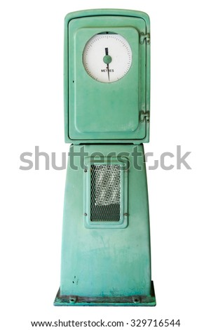 old water pressure gauge over 40 years for water works - stock photo