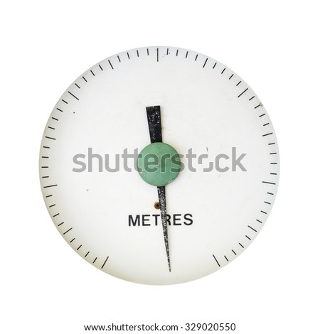 old water pressure gauge scale over 40 years for water works - stock photo