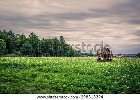 Old water pump on a potato field in cloudy weather - stock photo