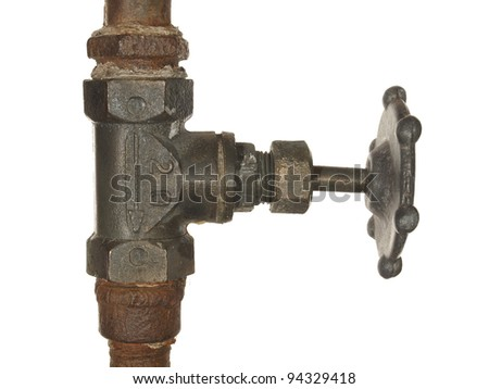 Old Water valve isolated on white background - stock photo