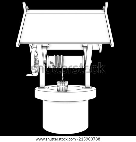 Old Water Well With Pulley and Bucket. isolated on black background 3d illustration. high resolution - stock photo