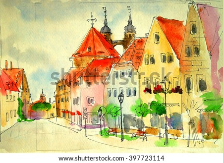 old watercolor street sketch in city trieur, bavaria, illustration - stock photo