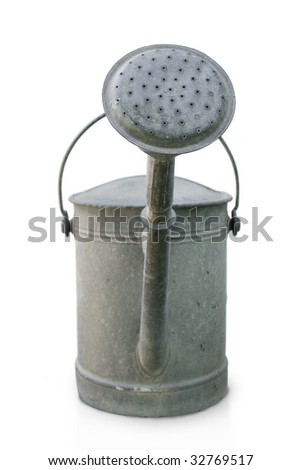 Old watering can isolated on a white background. - stock photo