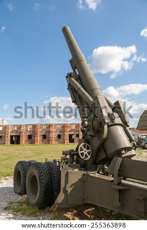 Old weapons - anti-aircraft guns, after the war in Croatia - stock photo