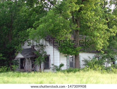 old weathered abandoned farm buildings house in trees  - stock photo