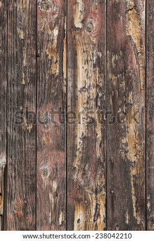 Old weathered boards on the side of a century old Vermont barn. - stock photo