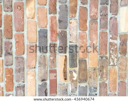 Old weathered brick wall as background - stock photo