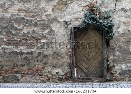 Old weathered brick wall with crumbling wooden door covered with ivy.  - stock photo