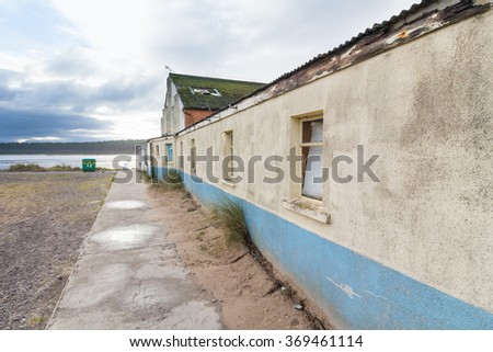 Old weathered building in Findhorn, Scotland