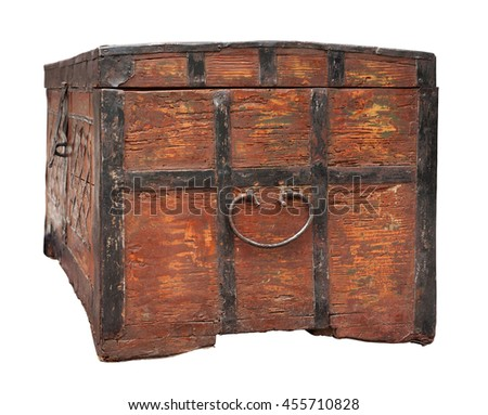 Old weathered chest isolated on white - stock photo