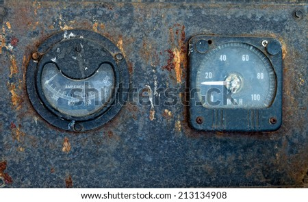 Old Weathered Locomotive Gauges left to the elements - stock photo