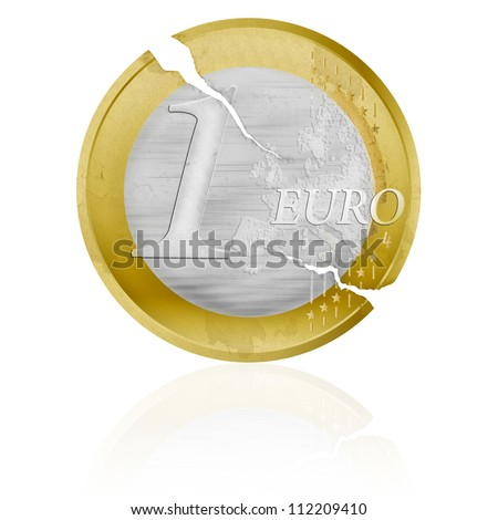 Old weathered one euro coin symbolizing the crisis in The European Union - stock photo