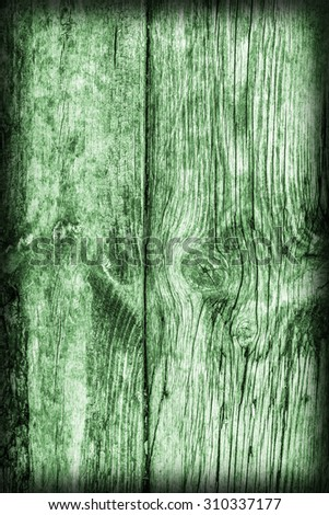 Old Weathered, Rotten, Cracked Planking, Bleached and Stained Green, Vignette Grunge Texture Detail.