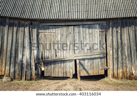 Old weathered shed door