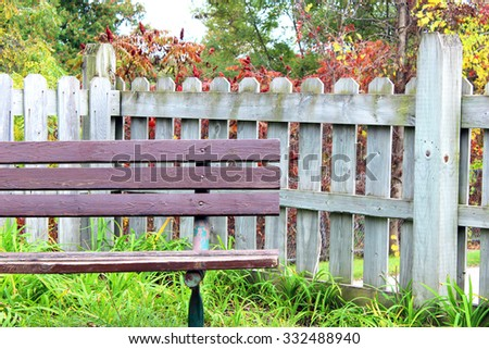 Old Weathered Wood Bench and Fence